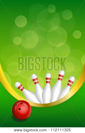 Background abstract green bowling red ball frame vertical gold ribbon illustration vector
