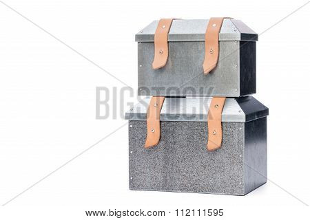 Two Metal Tool Box Stacking On White Background