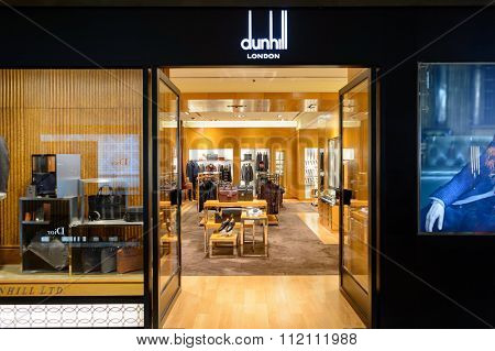 SINGAPORE - NOVEMBER 08, 2015: interior of Dunhill store. Alfred Dunhill, Ltd. is a British luxury goods brand, specialising in ready-to-wear, custom and bespoke menswear, leather goods, accessories.