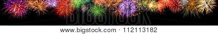 Colorful Fireworks Border, Extra Wide Format