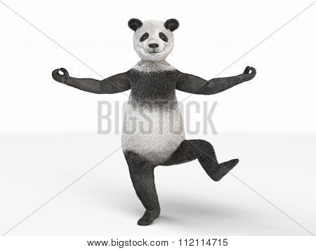 Personage Character Animal Bear Panda Standing One Leg Isolated White