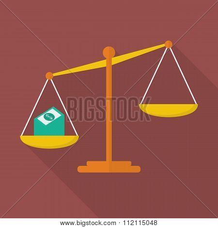 Balance Scale With Cash Money
