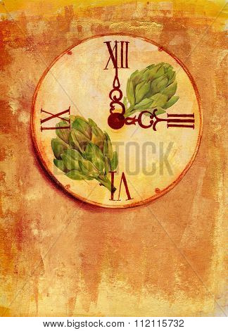 A grunge watercolor drawing of a vintage clock with artichokes on a textured artistic background