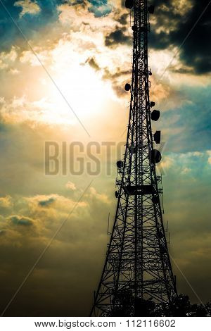 Silhouette telecom satellite tower