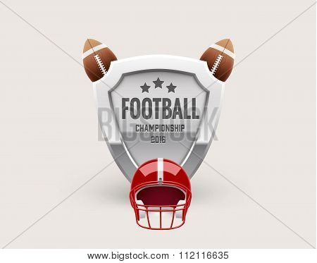 american football lable with realistic objects