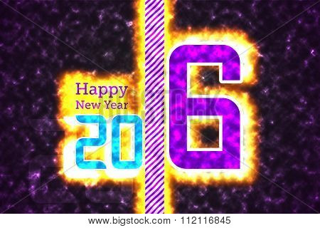Happy new year 2016 with explode effect