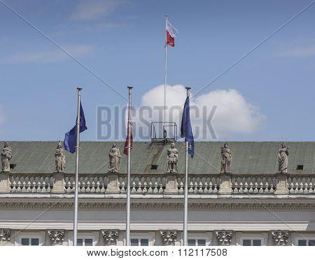 Warsaw, Poland - July 09, 2015: Presidential Palace In Warsaw, Poland. Before It: Bertel Thorvaldsen