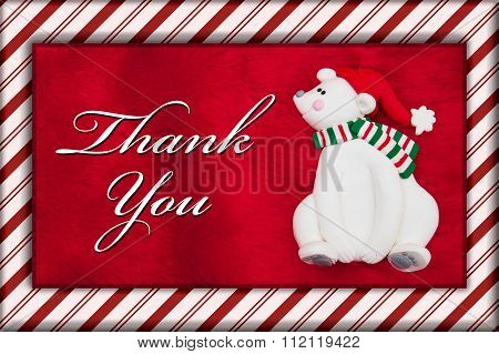 Red Plush Fur And Christmas Bear With Thank You Message