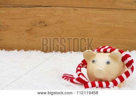 Christmas Savings,  Piggy Bank With Scarf On Snow With Copy-space