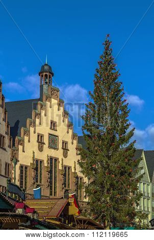 Christmas Tree In Front Of The Town Hall, Frankfurt