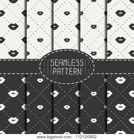 Set of romantic hipster lips kiss seamless pattern. Collection of wrapping paper. Scrapbook paper. T