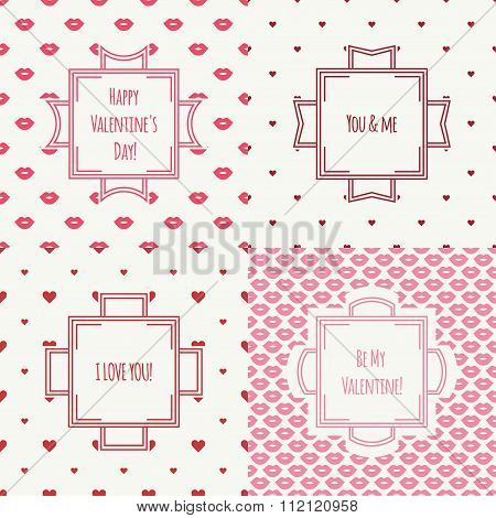 Set of red, pink romantic lips kiss seamless pattern with hearts. Wrapping paper. Vintage frames. Ve