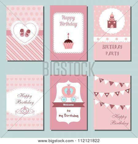 Collection of cute pink Birthday cards.