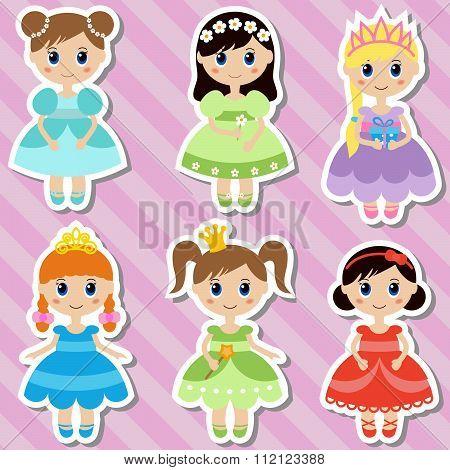 Big set of beautiful princesses.
