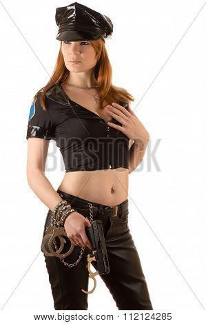 woman in costume policewoman with a gun in hand