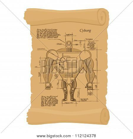Old Scheme Of Cyborg. Ancient Scroll Of Human Scheme Of  Robot. Archaic Architectural Project. Desig