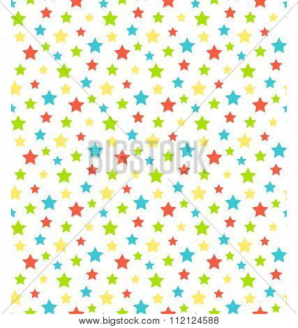 Seamless bright abstract pattern with stars isolated on white