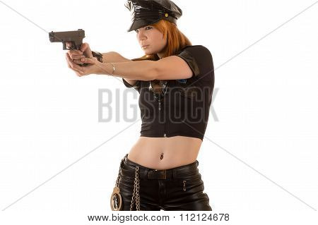 sexy police woman aiming a pistol