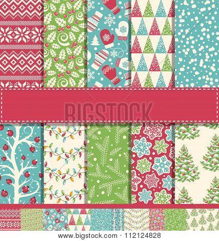 Set of 10 Seamless Bright Fun Christmas Winter Holidays Patterns