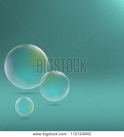 Three transparent soap bubbles with shadows on cyan