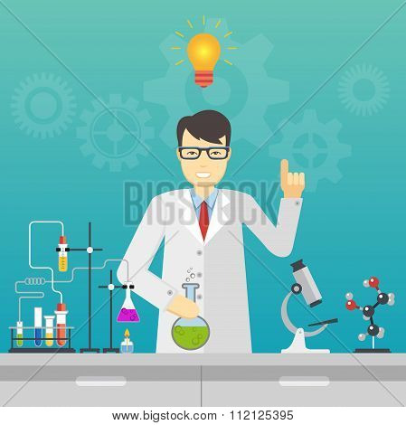 Chemical laboratory science and technology. Scientist workplace idea concept.