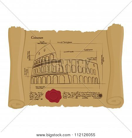 Drawing Of Colosseum At Ancient Scroll. Retro Scheme Of Ancient Architectural Structures In Rome. Ar