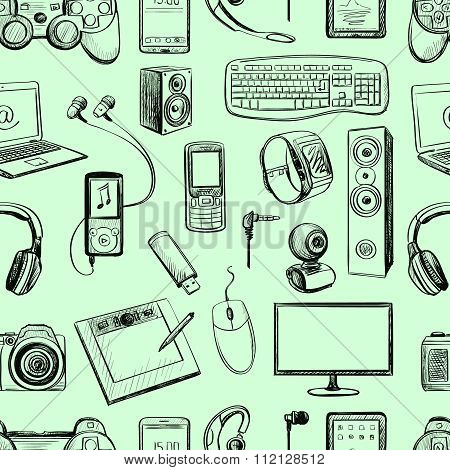 Seamless pattern of electronic gadget