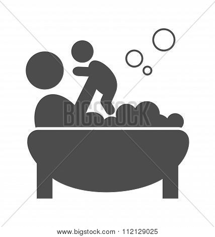 Parent takes a bath with the baby pictogram flat icon isolated o