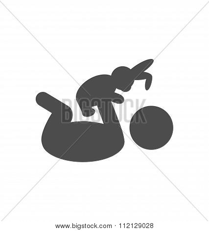 Baby plays with toy rabbit pictogram flat icon isolated on white