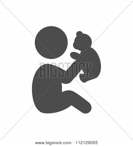 Baby plays with teddy bear pictogram flat icon isolated on white