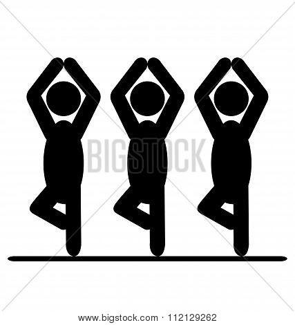 Yoga balance asana people pictogram flat icon isolated on white