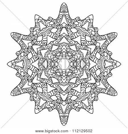 Hand drawn antistress snowflake.