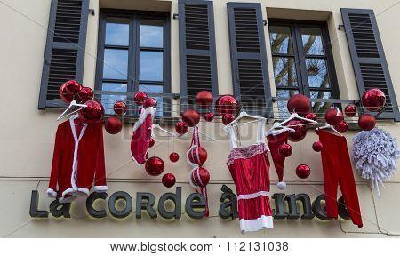 The Christmas Decoration At Lingerie Shop