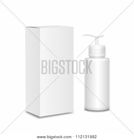 White cosmetics containers and package,  Plastic bottle with a spray  box. Vector ,