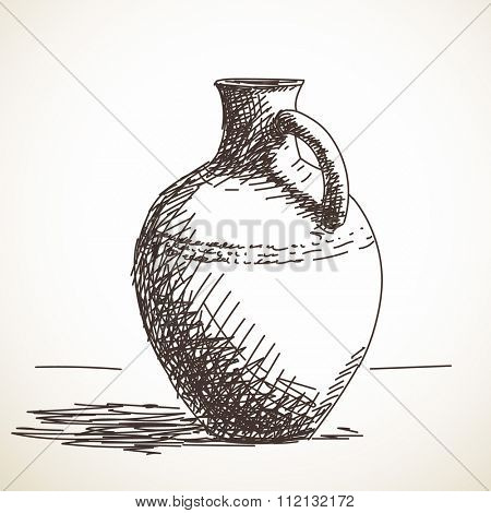 Sketch of ceramic jug, Hand drawn illustration