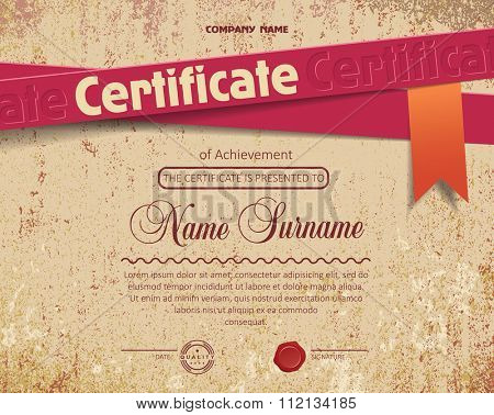 certificate on old grunge paper background