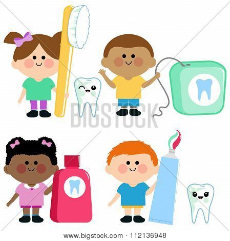 Kids dental hygiene vector set