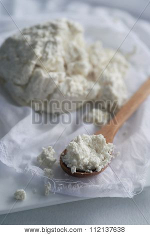 Spoonful of fresh homemade ricotta cottage cheese made from milk, draining on muslin cloth