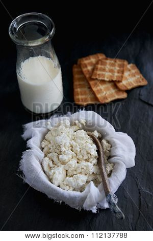 Homemade cottage cheese draining in muslin cheese cloth with main ingredient milk on dark background