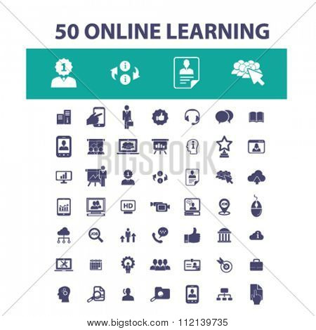 Online education, learning, training, education concept, business education, study, school  icons, signs vector concept set for infographics, mobile, website, application