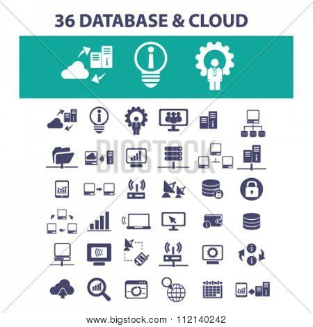 cloud, database, hosting, analytics  icons, signs vector concept set for infographics, mobile, website, application