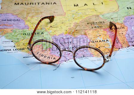 Glasses on a map - Liberia