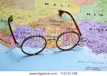 Glasses on a map - Togo