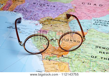 Glasses on a map - Congo