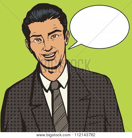 Successful businessman pop art style vector