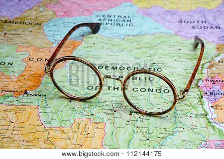 Glasses on map - Democratic Republic of the Congo