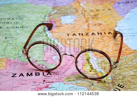 Glasses on a map - Malawi
