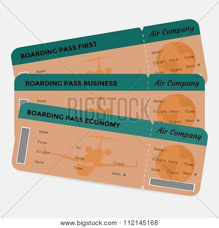 Set of airline boarding pass. Orange and green tickets isolated on white background