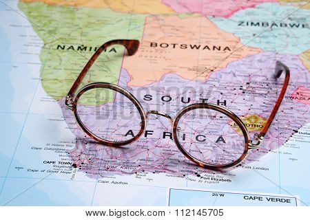 Glasses on a map - South Africa