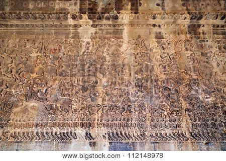 Ancient Khmer Bas-relief At Angkor Wat Temple, Cambodia